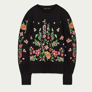 Rare Zara Woman Embroidered Floral Sweatshirt, S